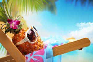 Ms Pineapple enjoying the beach